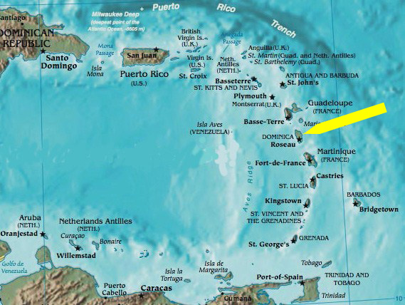 The Island Of Martinique Map